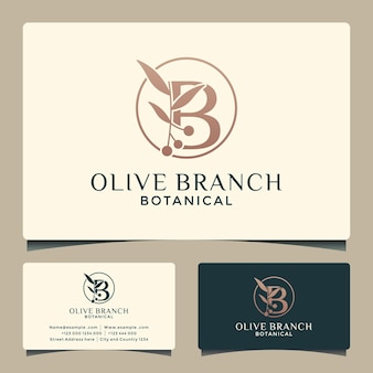 Bイニシャルロゴデザイン化粧品サルーンスパハーブと創造的なオリーブの枝