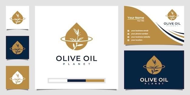 創造的なオリーブオイルの惑星のロゴのテンプレートと名刺のデザイン