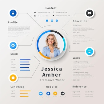 Creative online cv template with photo