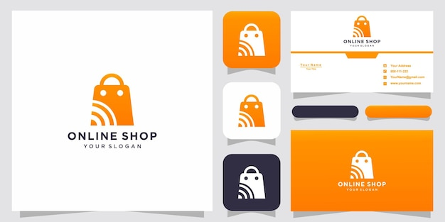 Creative online shop, bag combined logo template and business card
