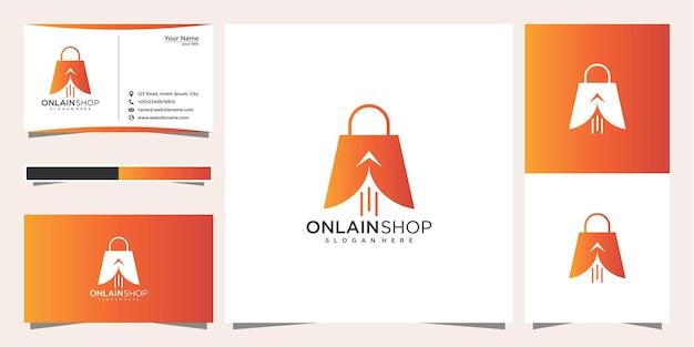 Креативный интернет-магазин, сумка в сочетании с дизайном логотипа курсора и визиткой