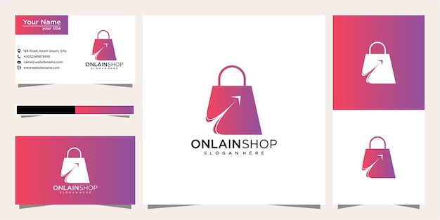 クリエイティブなオンラインショップ、カーソルロゴテンプレートと名刺を組み合わせたバッグ