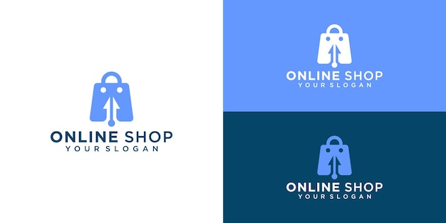 Creative online shop, bag combined with cursor logo template and business card