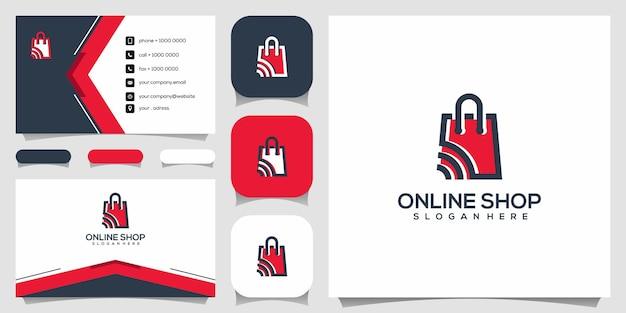 창의적인 온라인 상점, 신호 로고 디자인 템플릿과 결합 된 가방