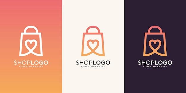 シンボルハートデザインテンプレートとクリエイティブなオンラインショップのロゴ
