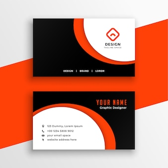 Creative orange business card with curvy shape