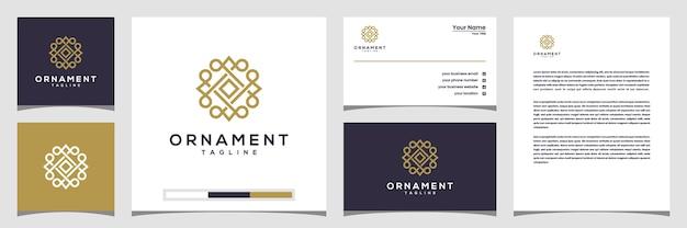 Творческий орнамент круг концепции логотип с линией арт стиль. логотип, визитка и фирменный бланк