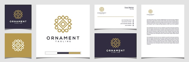 Creative ornament circle concept logo with line art style.  logo, business card and letterhead
