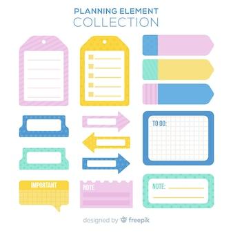Pacchetto creativo di elementi di pianificazione