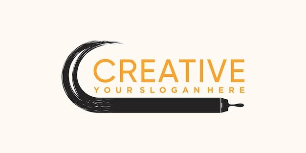 Creative paint brush stroke logo design with unique modern concept premium vector