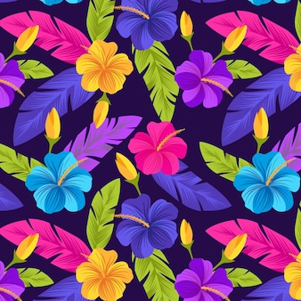Creative painted tropical floral pattern