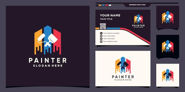 Creative painter logo design template with brush roller and business card design