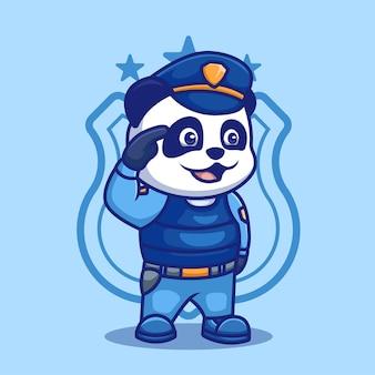 クリエイティブパンダ警察漫画キャラクターイラストデザイン