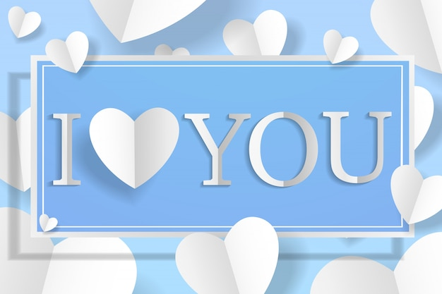 Creative paper craft heart and banner with lettering i love you for happy valentine's day soft blue background.
