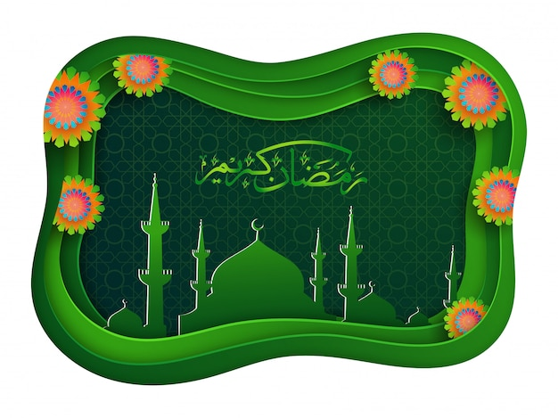 Creative paper mosque and islamic arabic text of