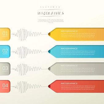 Creative paper pencil bar chart infographic elements template