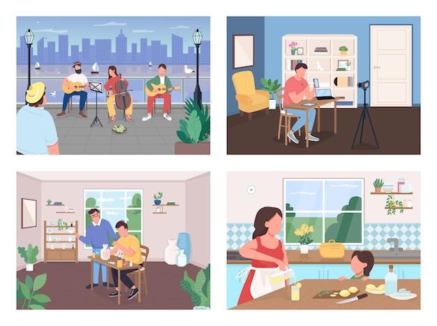 Набор плоских цветных векторных иллюстраций творческого времяпрепровождения. музыкальная группа выступает в городе. ремесленный класс. друзья и семья 2d-персонажей мультфильмов с интерьером и пейзажем на фоновой коллекции