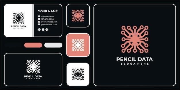 Креативный дизайн логотипа сообщества карандашных данных с визитной карточкой
