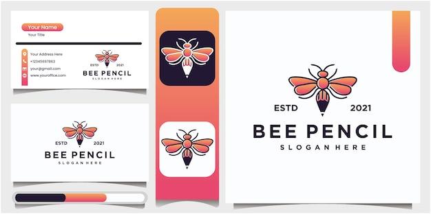Creative pencil illustration of bee logo