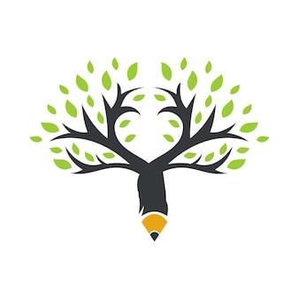 크리에이 티브 연필 나무 로고 디자인 벡터