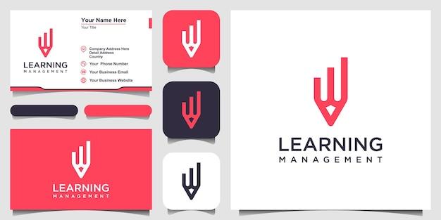 데이터 개념 로고 디자인 영감이 있는 창의적인 연필. 그리고 명함 디자인