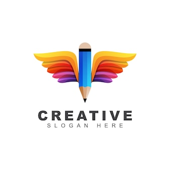 Creative pencil with wings logo, education school gradient logo  template
