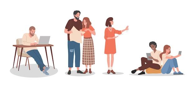 Творческие люди на работе векторные иллюстрации плоский, изолированные на белом