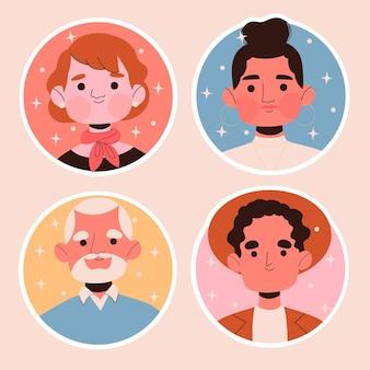 Creative people avatar stickers set