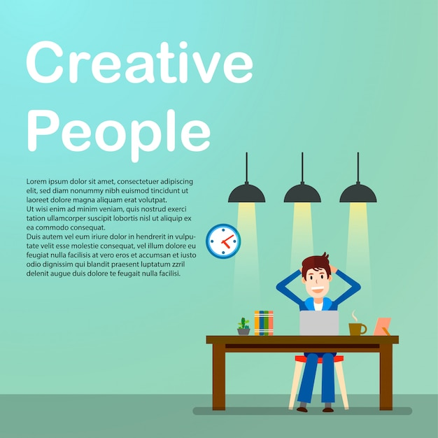 Creative people. freelancer. happy working man.