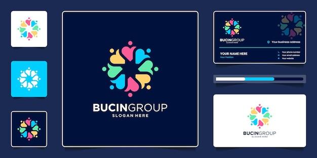 심장 기호와 화려한 로고 디자인 및 명함이 있는 창의적인 사람들 그룹