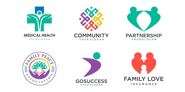 Creative people logo icon set logo used for community connection family team work together