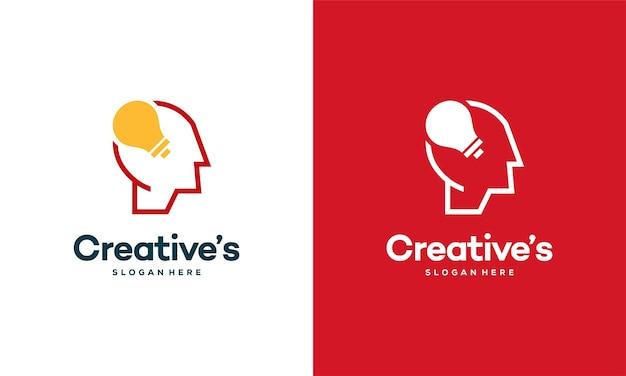 電球の概念ベクトル、人間の頭の電球ランプのロゴのベクトルのアイデアとクリエイティブな人々のロゴ