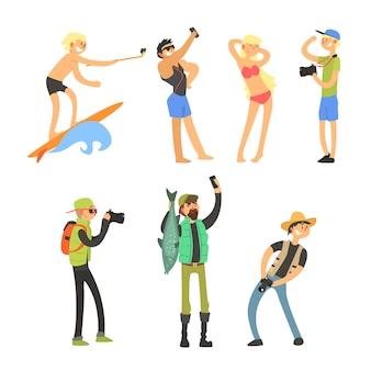 Creative people taking photos. illustration set