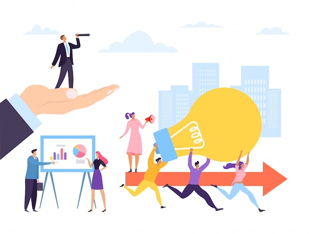 Creative people worker running with idea concept,  illustration. teamwork with lightbulb, leader man woman with binoculars