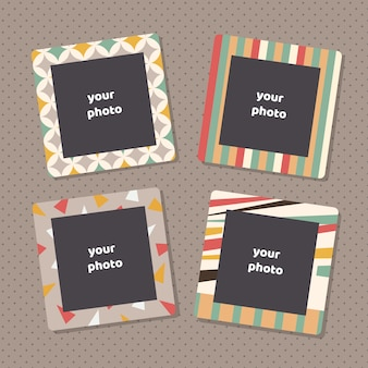 Creative photo frames with art texture. decorative picture frame borders for family portraits