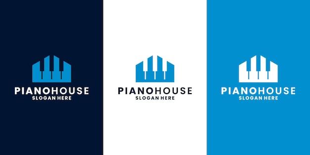 Creative piano house logo design vector