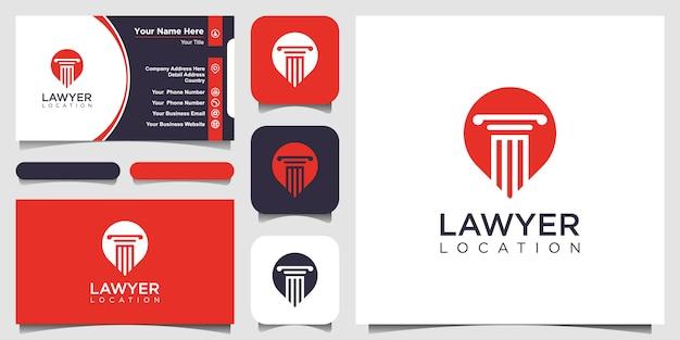 Творческая концепция столба и булавки. шаблон логотипа закона и поверенного с линией стилем искусства. расположение логотипа юриста и дизайн визитной карточки