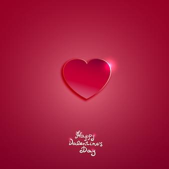 バレンタインデーカードベクトルの背景の創造的なピンクの紙の心