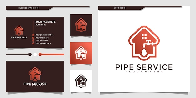 Creative pipe service logo with cool combined house and water drops concept for business company premium vektor