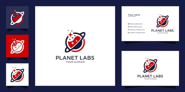 Creative planet lab logo design and business card template