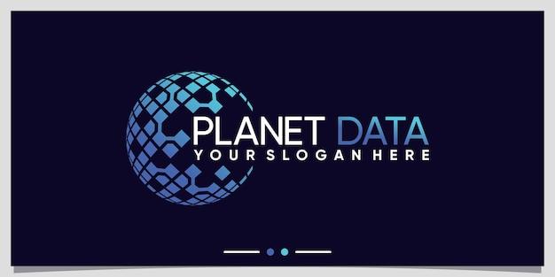 Creative planet logo design for data technology with creative concept premium vector