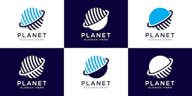 크리에이 티브 행성 궤도 추상 로고 디자인 및 명함