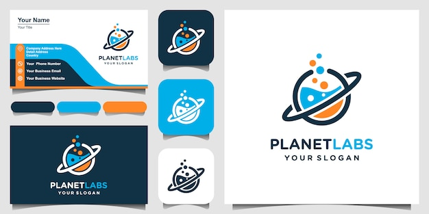 Creative planet orbit labor lab abstract logo design and business card.