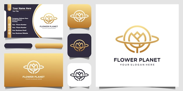 Creative planet rose logo concept and business card design