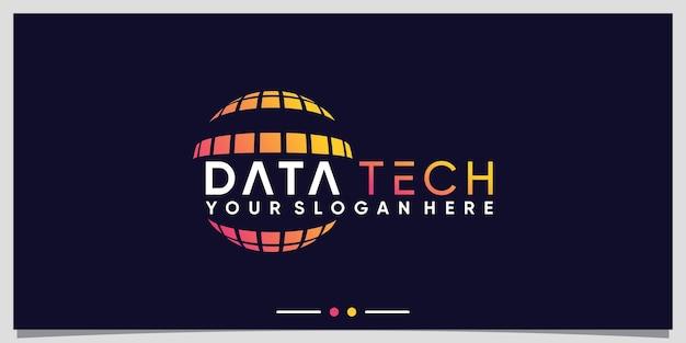 Creative planet technology logo design template with modern concept premium vector