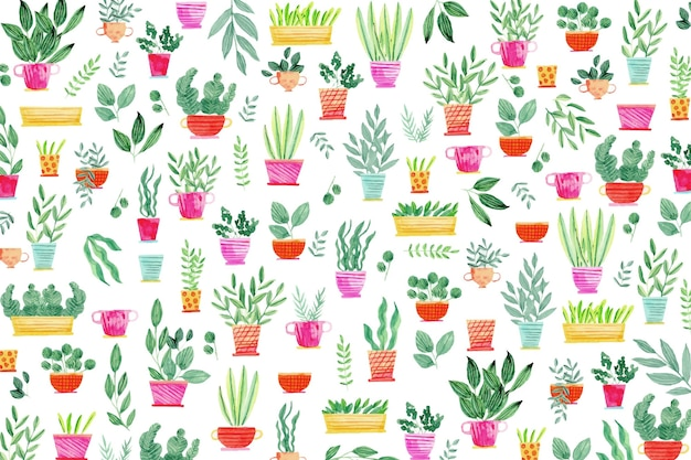 Creative plants in pots background