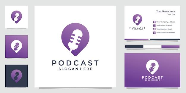 クリエイティブなポッドキャストのロゴデザインのインスピレーションと名刺