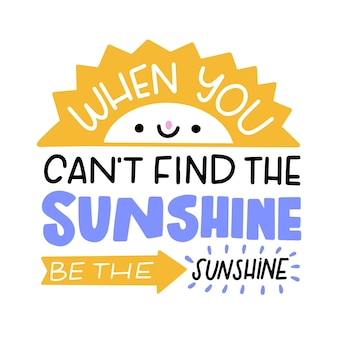 Creative positive mind lettering with smiley sun