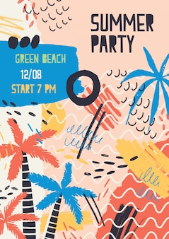 ジャングルのヤシの木、汚れ、夏のビーチパーティーや野外フェスティバルの落書きで飾られたクリエイティブなポスターテンプレート。