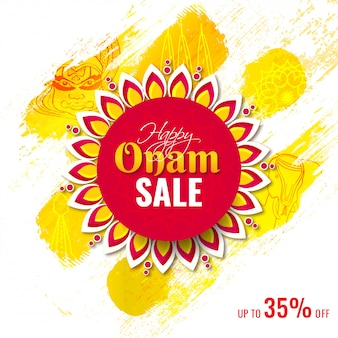 Creative poster or template design with 35% discount offer for happy onam sale.